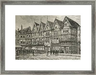 Old Houses In Valenciennes, France In Framed Print by Vintage Design Pics