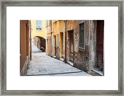 Old Houses On Narrow Street In Villefranche-sur-mer Framed Print