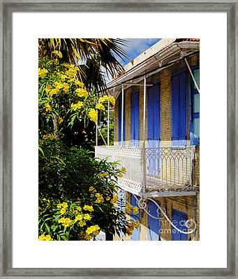 Old House With A Balcony In Charlotte Amalie Framed Print