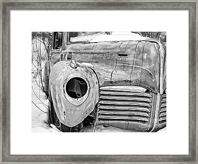 Old Hudson In The Snow Black And White 4x3 Framed Print by Edward Fielding