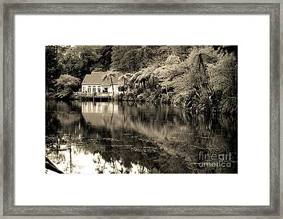 Framed Print featuring the photograph Old Hut By The Bush Lake by Yurix Sardinelly