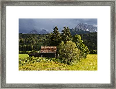 Framed Print featuring the photograph Old Hut In Austria by Yuri Santin