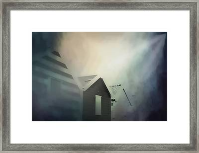 Old Huts In The Mist - Digital Watercolour Framed Print by Tom Gowanlock
