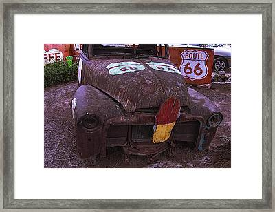 Old Ice Cream Sign On Old Truck Framed Print by Garry Gay