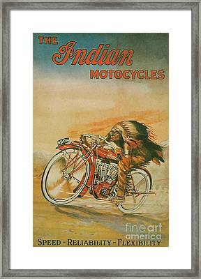 Old Indian Motorcycle Framed Print by Pd