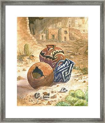 Old Indian Pottery Framed Print by Marilyn Smith