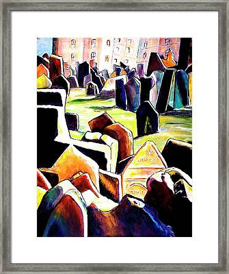 Old Jewish Cemetary In Prague Framed Print
