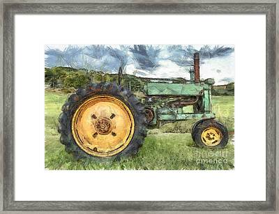 Old John Deere Tractor Pencil Framed Print by Edward Fielding