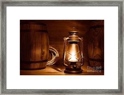 Old Kerosene Lantern - Sepia Framed Print by Olivier Le Queinec