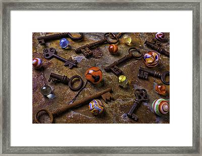 Old Keys And Marbles Framed Print by Garry Gay