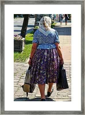 Framed Print featuring the photograph Old Lady Off To Work by Mariola Bitner