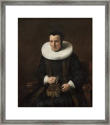 Old Lady With A Book Framed Print by Rembrandt