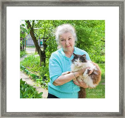 Old Lady With Cat Framed Print