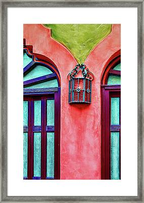 Framed Print featuring the photograph Old Lamp Between Windows by Gary Slawsky