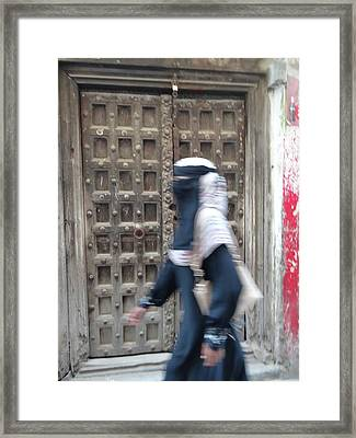 Old Lamu Town Muslim Woman Walking Framed Print