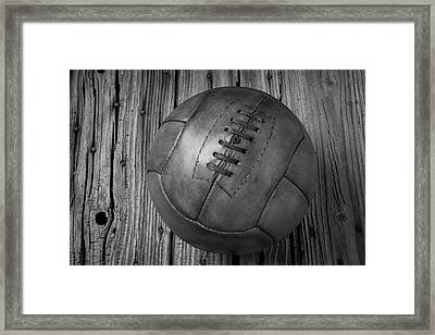 Old Leather Football Black And White Framed Print