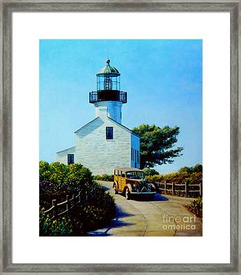 Old Lighthouse Point Loma Framed Print by Frank Dalton