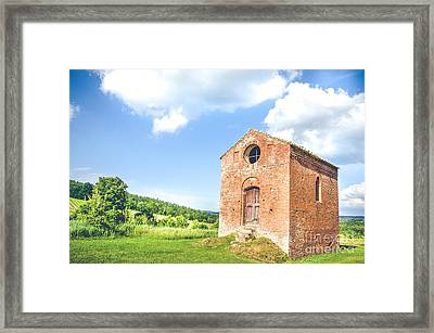 Old Little Church In Tuscany  Canvas - Tuscan Cottage Framed Print by Luca Lorenzelli