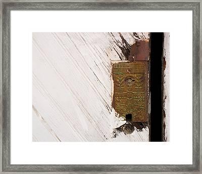 Old Lock On Garage Door Framed Print