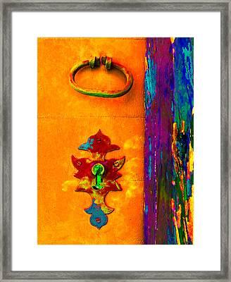 Old Lock With Colorful Orange Wood Framed Print