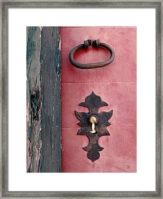 Old Lock With Pink Wood Framed Print