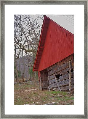 Framed Print featuring the photograph Old Log Barn by Debbie Karnes