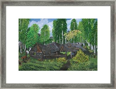 Framed Print featuring the painting Old Log Cabin And   Memories by Sharon Duguay