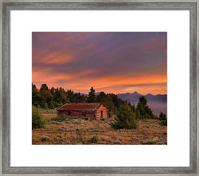 Old Log Cabin Framed Print by Leland D Howard