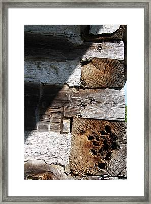 Framed Print featuring the photograph Old Log House Detail by Joanne Coyle