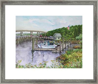 Old Lyme Boat Yard At The Dep Framed Print by B Rossitto