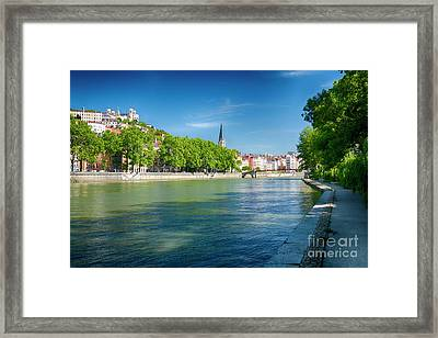 Old Lyon Viewed From The Saone River Framed Print