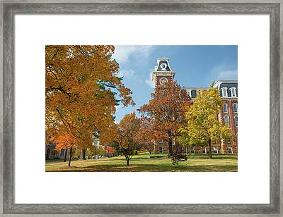 Old Main At The University Of Arkansas During Fall Framed Print