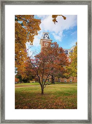 Old Main On The University Of Arkansas Campus - Autumn In Fayetteville Framed Print