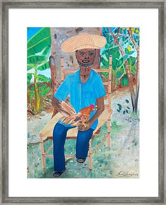 Framed Print featuring the painting Old Man And His Rooster by Nicole Jean-louis