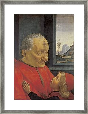 Old Man And Young Boy Framed Print by Domenico Ghirlandaio