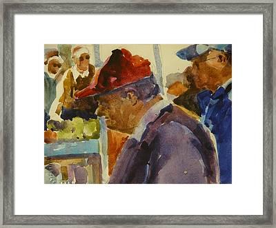 Old Man At The Market Framed Print by Walt Maes