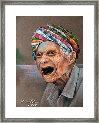 Framed Print featuring the painting Old Man by Chonkhet Phanwichien