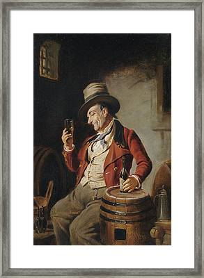 Old Man Drinking Beer Painting Framed Print by PaintingAssociates