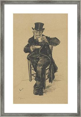 Old Man Drinking Coffee The Hague Framed Print by MotionAge Designs
