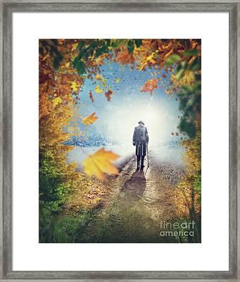 Old Man Going Alone  Framed Print by Elena Schweitzer