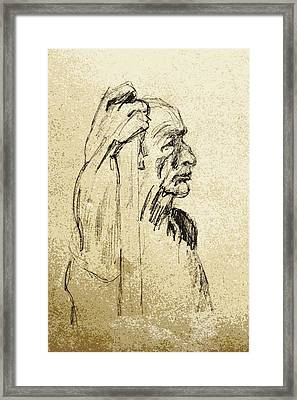 Old Man Holding Staff Framed Print by Sheri Buchheit