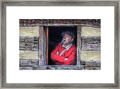 Old Man In Window Framed Print by Randy Steele