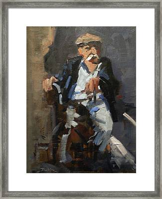 Old Man On A Child Framed Print by David Simons