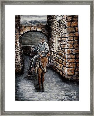Old Man On A Donkey Framed Print