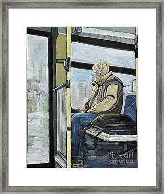Old Man On The Bus Framed Print by Reb Frost
