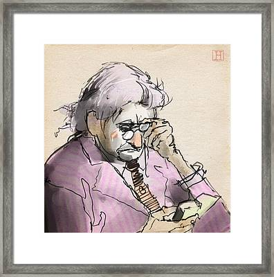 Old Man Reading A Small Book Framed Print by H James Hoff