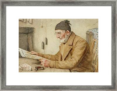 Old Man Reading The Newspaper Framed Print