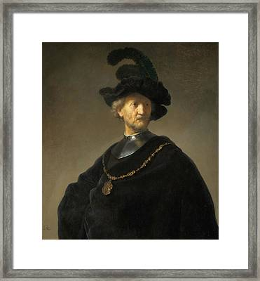 Old Man With A Gold Chain Framed Print by Rembrandt