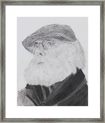 Framed Print featuring the drawing Old Man With Beard by Quwatha Valentine