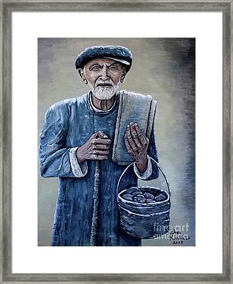 Framed Print featuring the painting Old Man With His Stones by Judy Kirouac